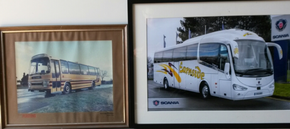 Framed photos courtesy of the vehicle dealers of 2 new deliveries - albeit 36 years apart
